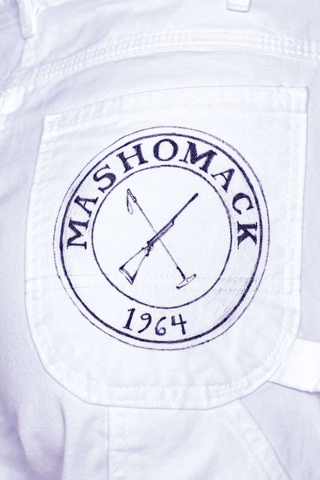 Detail view of Natasha Portait Pant by Natasha Blodgett featuring Mashomack Logo