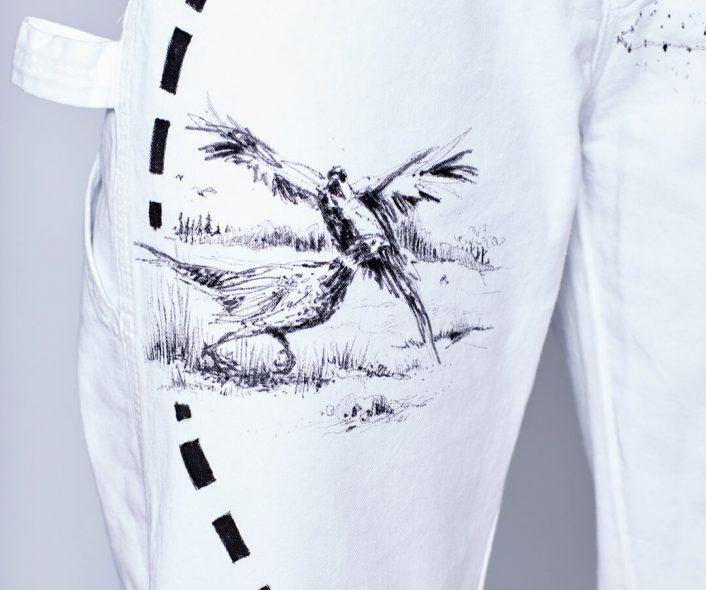 Detail view of Natasha Portait Pant by Natasha Blodgett featuring two pheasants